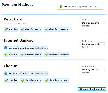 Payment method options