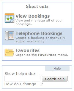 Telephone bookings
